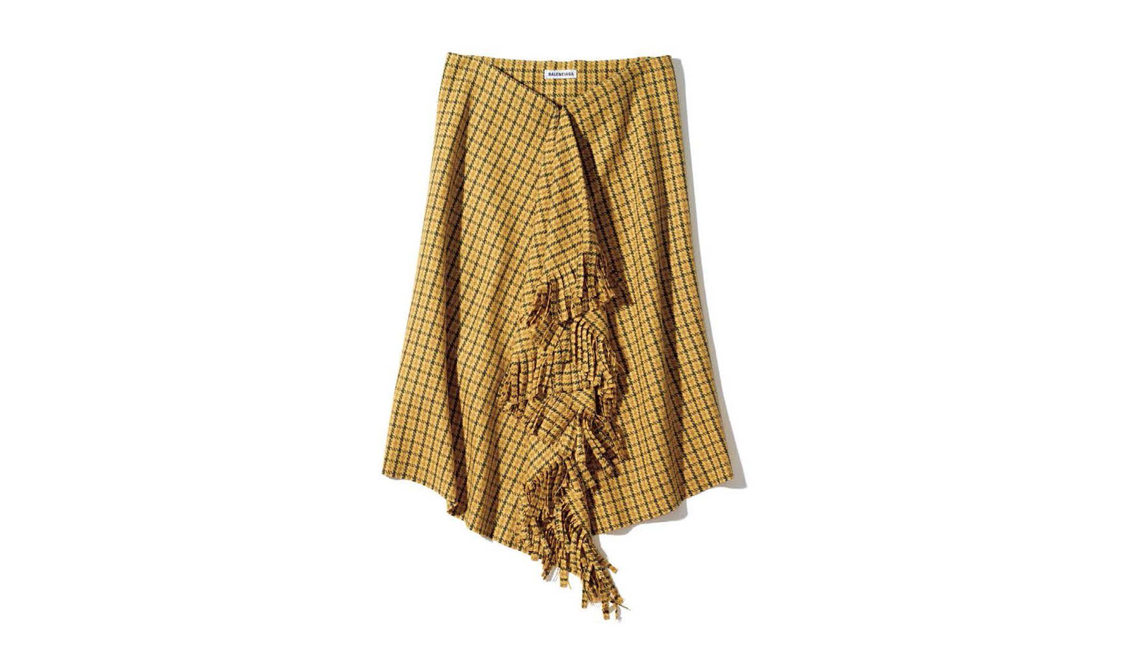 バレンシアガのフリンジドレープスカート