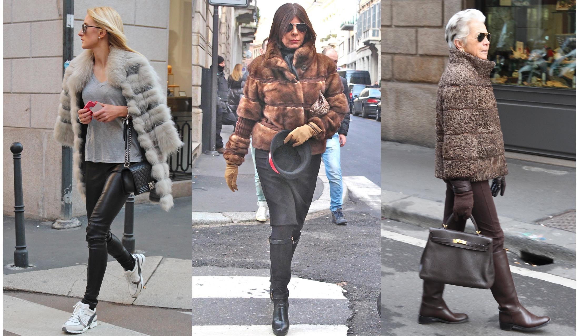 ファーコートをトレンディーに着こなすミラノマダムのストリートスナップ写真