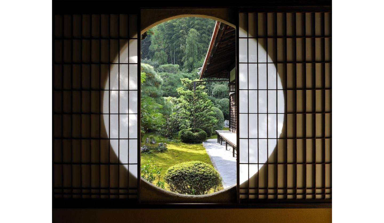 「芬陀院」の窓から見た庭の様子