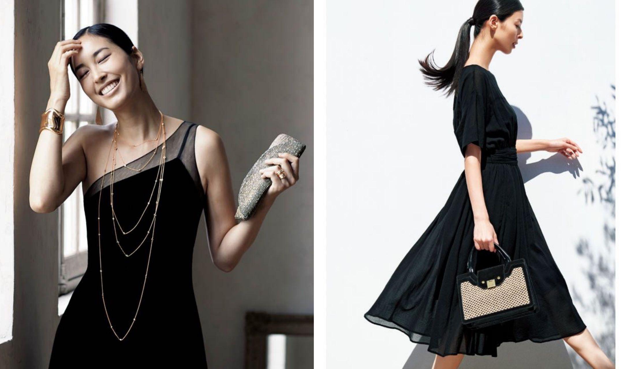 夏のブラックサマードレスを着たふたりのモデル
