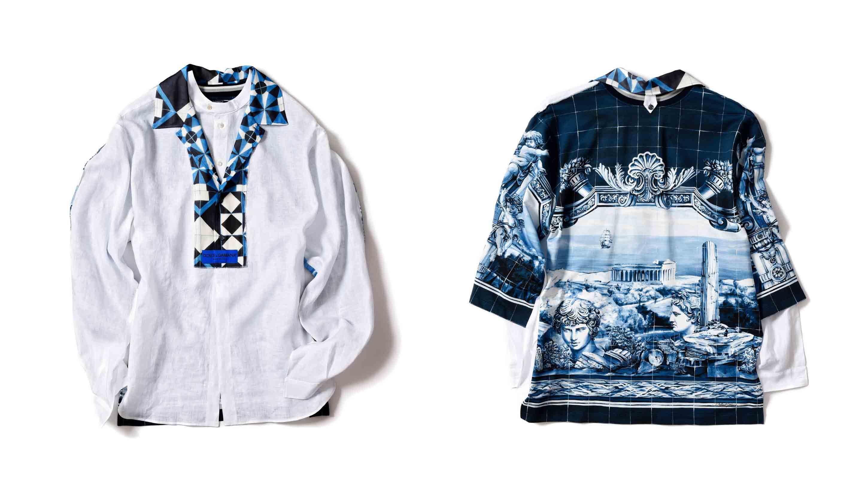 ドルチェ&ガッバーナのパッチワークリネンシャツ