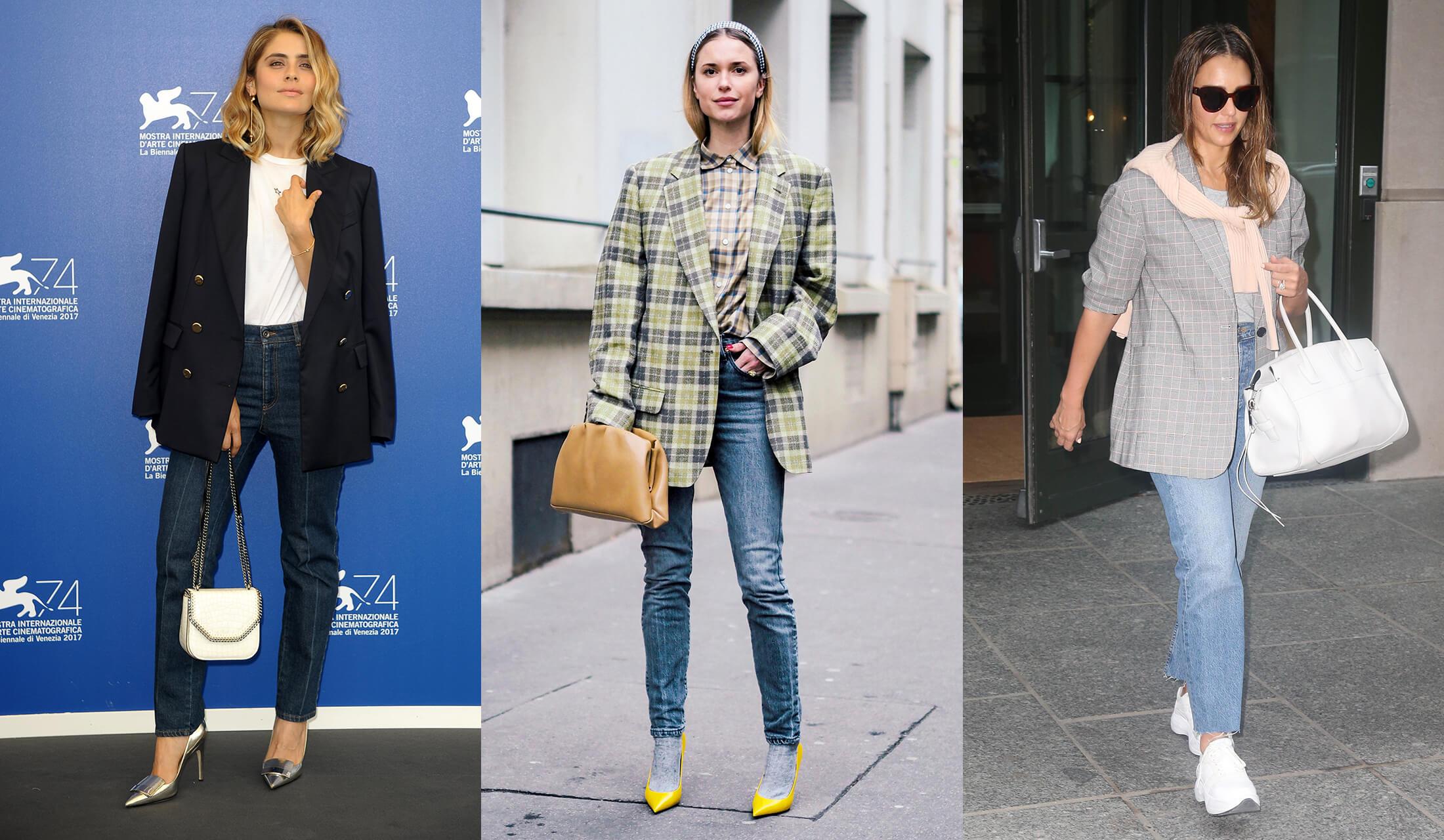 ジャケットとジーンズを着こなす女性たち