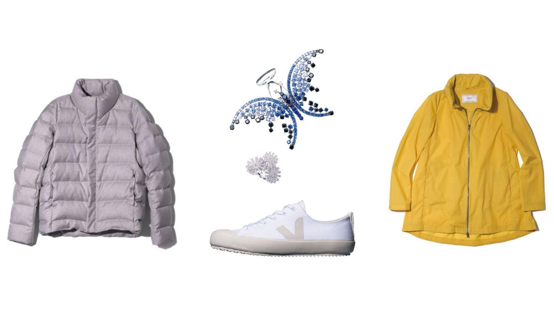 ドーメルのダウンジャケット、ヴェジャのスニーカー、ダミアーニのジュエリー、ヘルノのコート