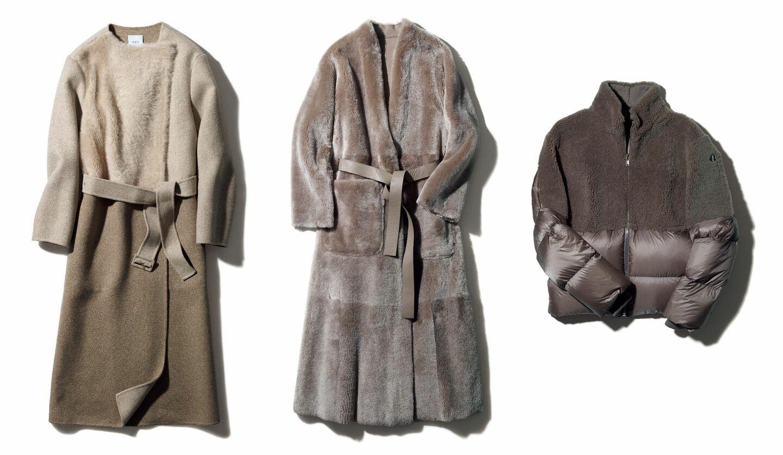 「アニオナ」の異素材MIXコート、「ジョルジオ アルマーニ」のファーコート、「モンクレール+リック・オウエンス」のダウンコート