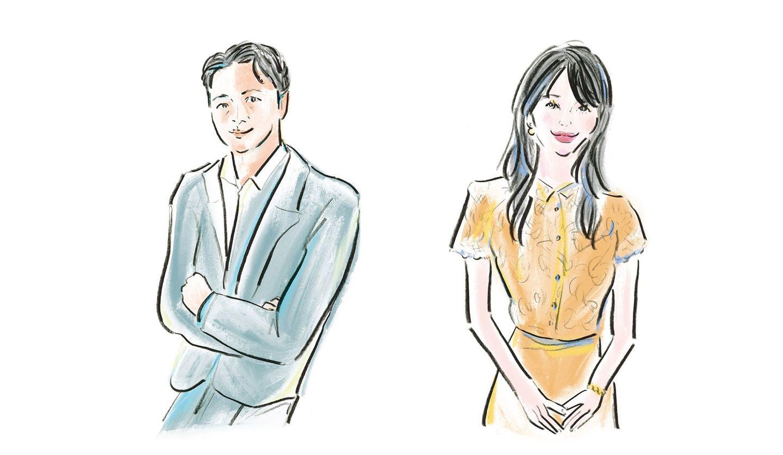 佐伯ゆう子さんによる知花くららさんと小川仁志さんのイラスト