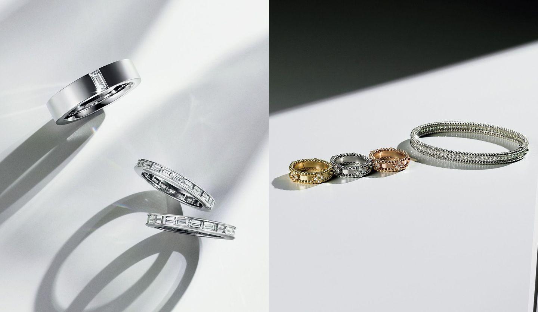 ハリー・ウィンストンのダイヤモンドリングと、ヴァン クリーフ&アーペルのダイヤモンドリング・ダイヤモンドブレスレットの写真