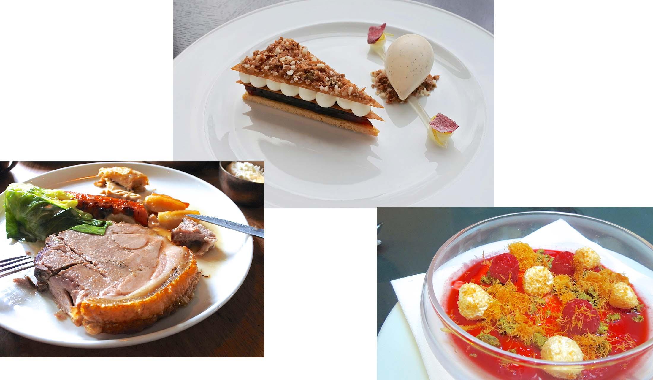 パイ生地のケーキ、真っ赤なスープ、サンデーロースト、パウンドケーキと4種類のイギリス料理が並ぶ