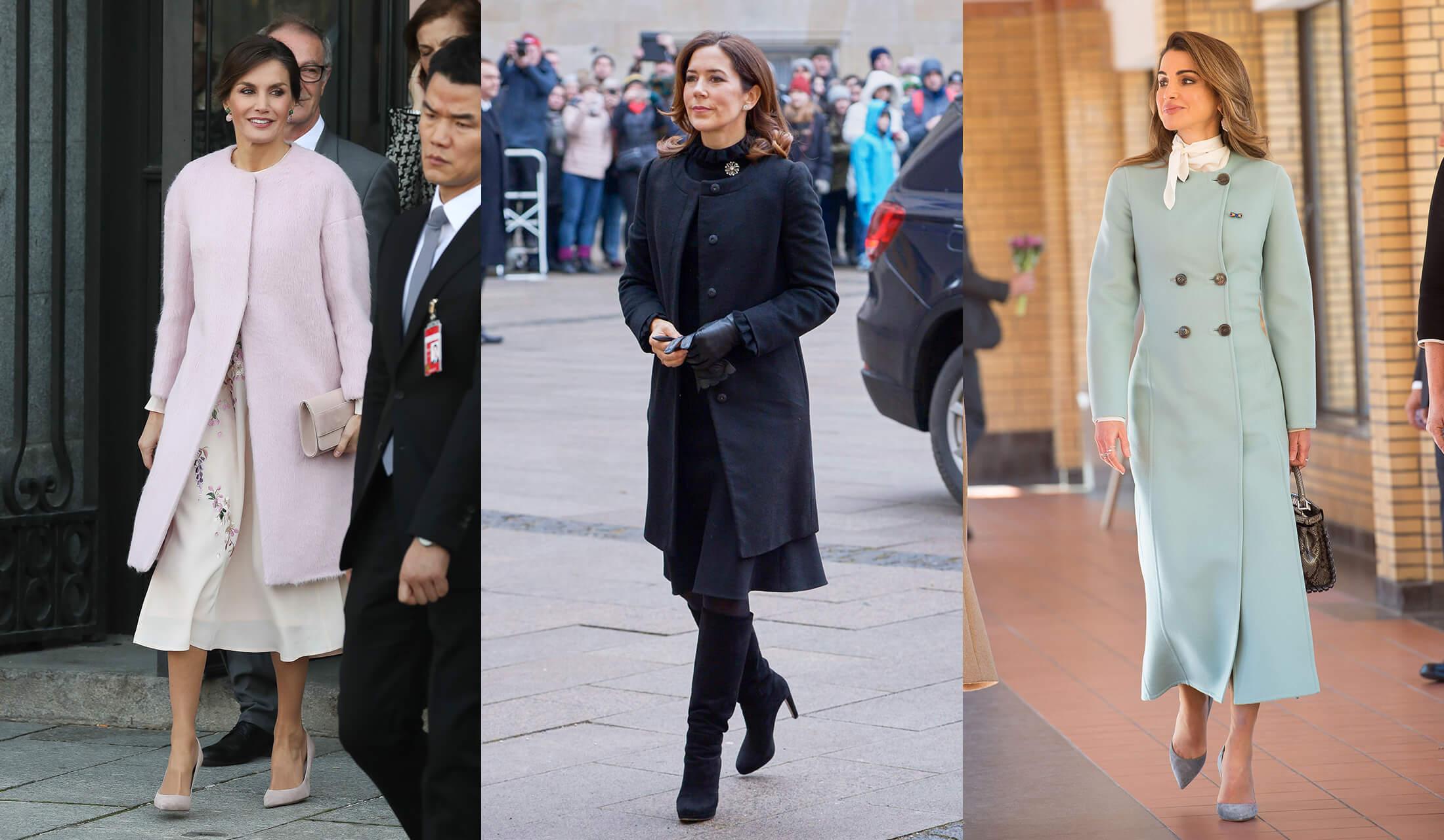 ノーカラーコートを着こなす女性たちのストリートスナップ写真