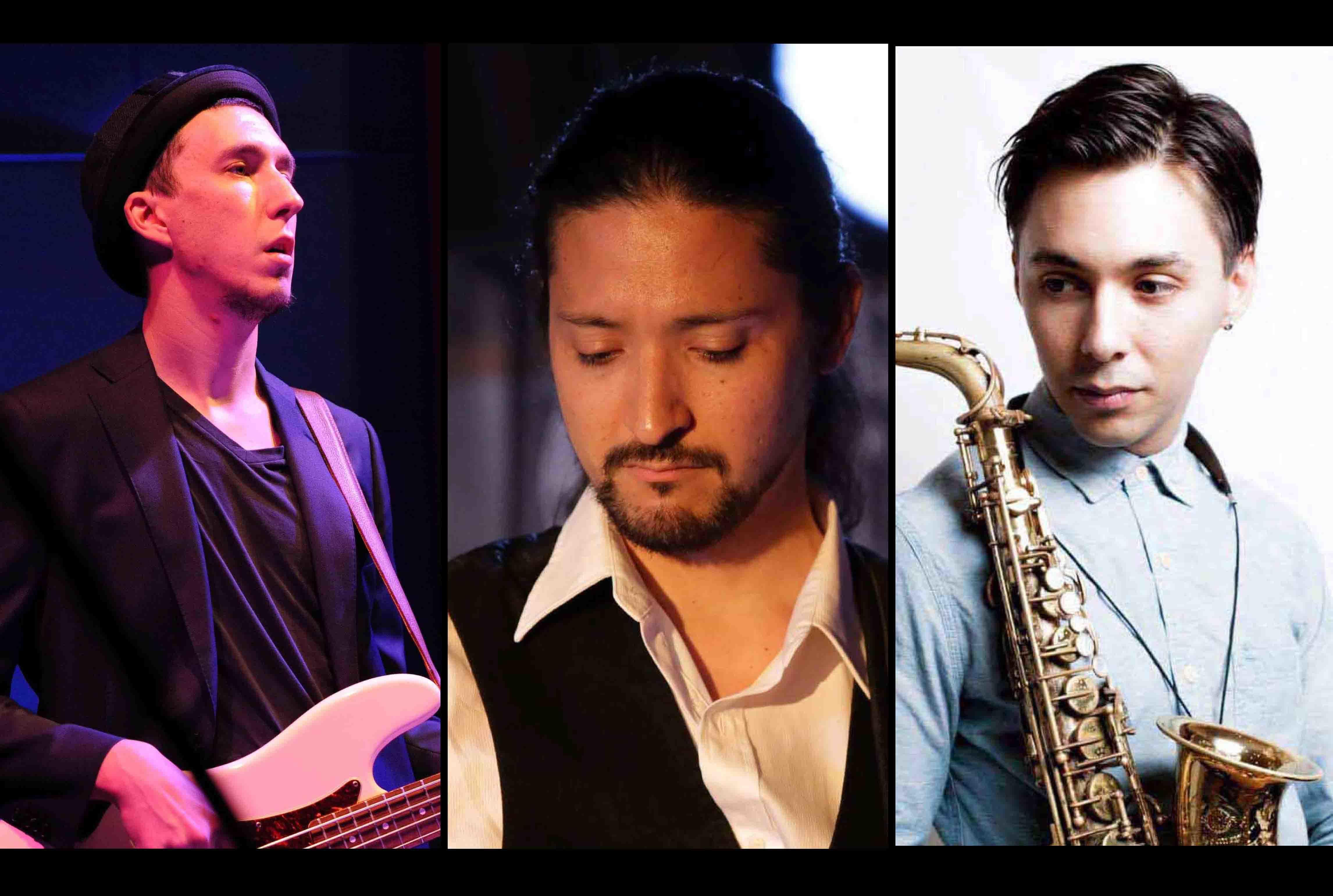 ジャズの奏者、ザック・クロクサルとトーマス・ムラマツとデイビッド・ネグレテの3人