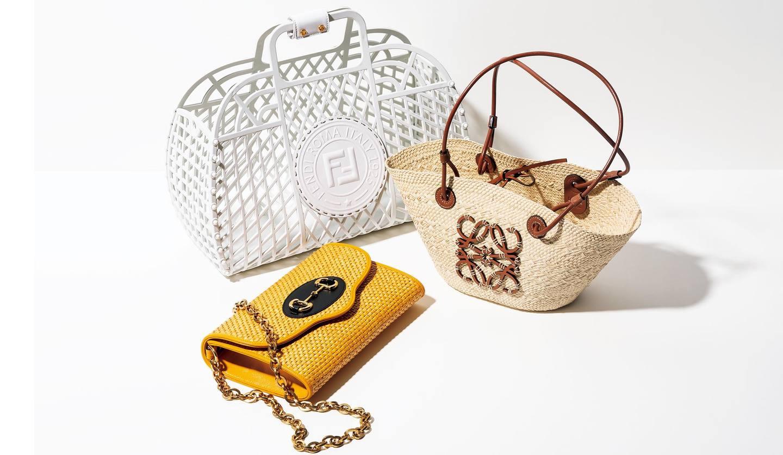 フェンディのバスケットバッグ、グッチのコンパクトバッグ、ロエベのバスケット