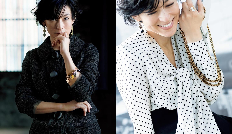 女優・鈴木保奈美さんのドルチェ&ガッバーナの「ブラック&ホワイト」アイテムの着こなし2つ