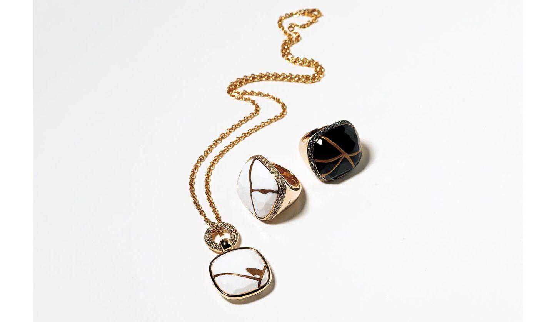 ポメラートの新作『金継ぎ』コレクションのネックレスと指輪