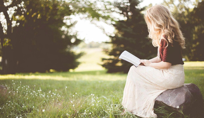 草原の岩に腰かけ、本を読む女性