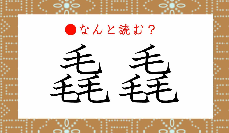 日本語クイズ 出題画像 難読漢字 「毳毳」なんと読む?