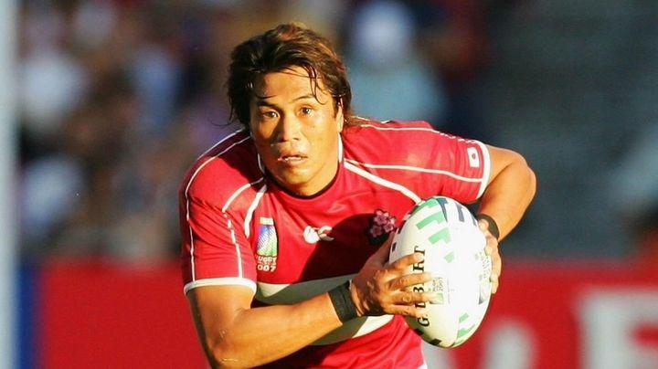日本代表ユニフォームを着てプレーする大西将太郎さん