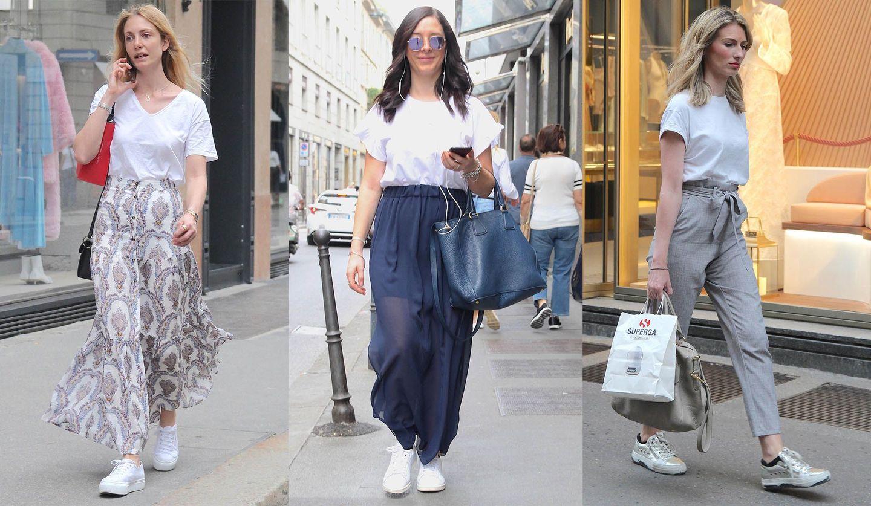白Tシャツを着こなすミラノ女性たち