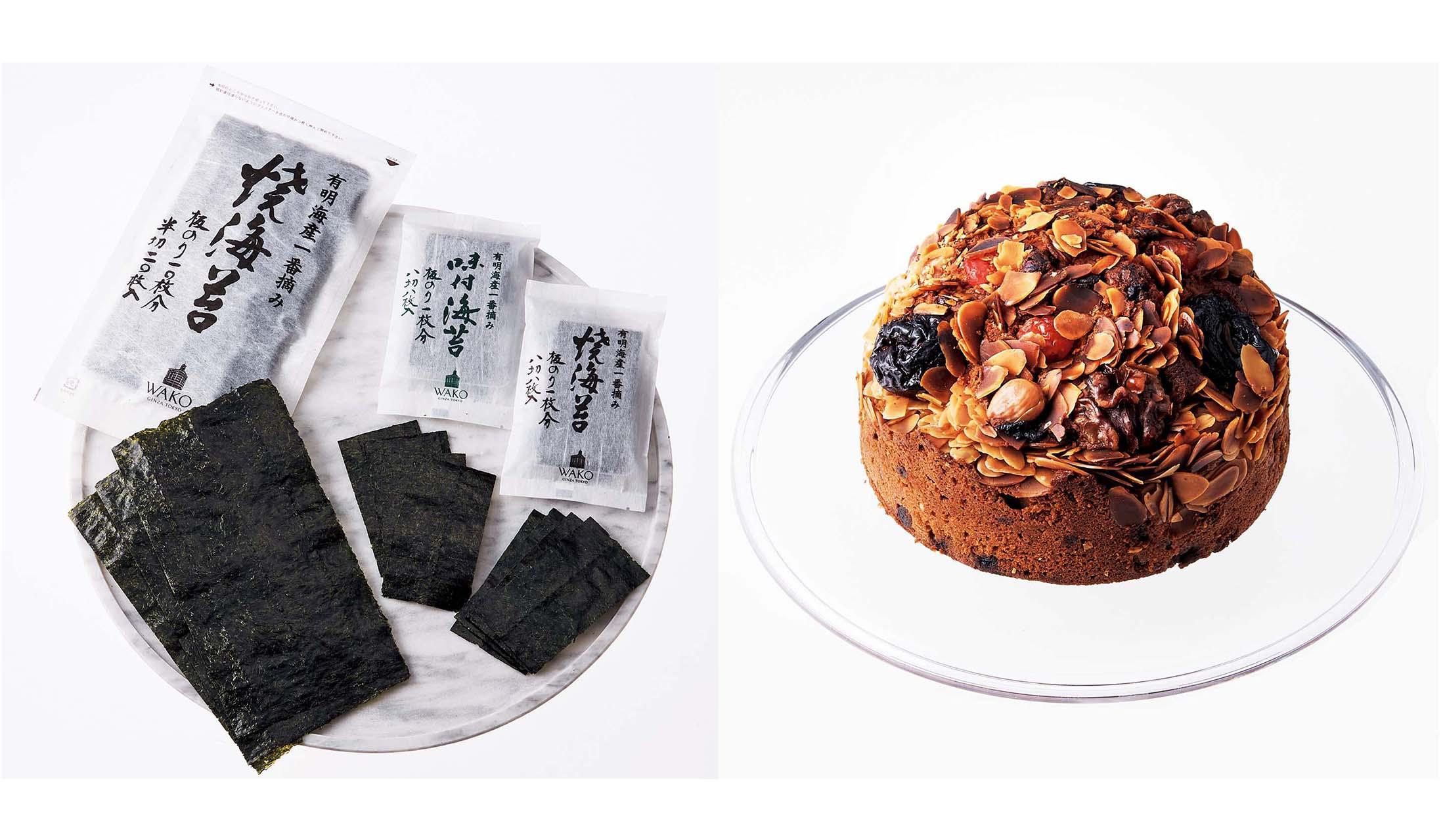 和光の焼海苔、味付海苔詰合せとコニャックケーキ ラ ネロル