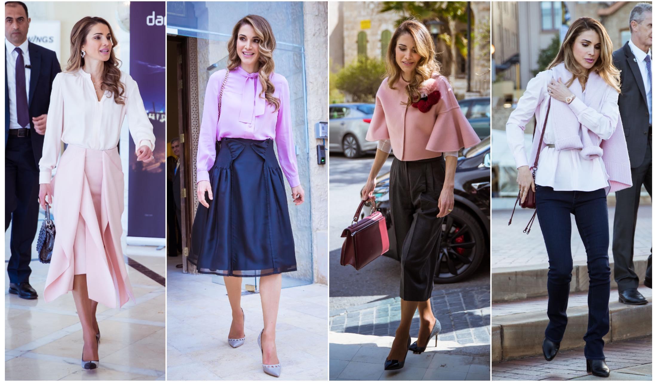 ヨルダンのラーニア王妃のピンクカラーファッションのストリートスナップ写真