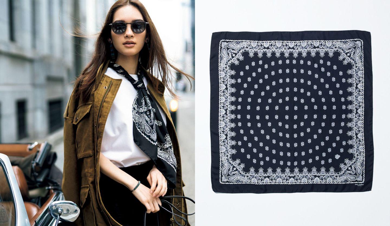 サンローランの90㎝角 バンダナスカーフと着用イメージ