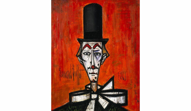 ベルナール・ビュフェ《ピエロの顔》1961年、油彩・カンヴァスベルナール・ビュフェ美術館所蔵©ADAGP,Paris&JASPAR,Tokyo,2020E3886