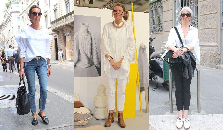 白シャツを個性的に着るミラノマダムのストリートスナップ写真