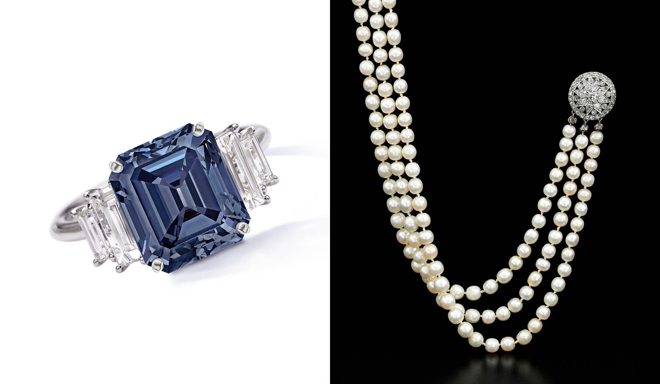 5カラットのファンシー・ビビッド・ブルーダイヤモンドと199粒の天然真珠ネックレスの写真