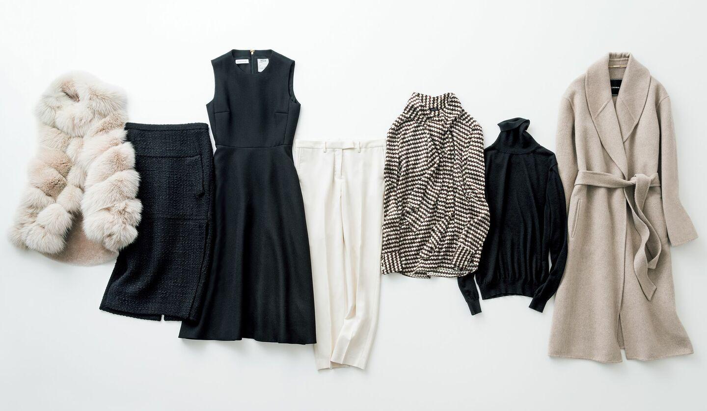 グレージュベルベッドコート、黒タートルネックニット、ジオメトリック柄ブラウス、白ウールパンツ、ワンピース、ツイードスカート