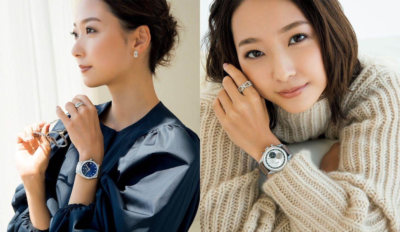 左/ゼニスの腕時計『デファイ ミッドナイト』を着用した畠山愛理さん。右/ゼニスの腕時計『クロノマスター オリジナル ダイヤモンド』を着用した畠山愛理さん