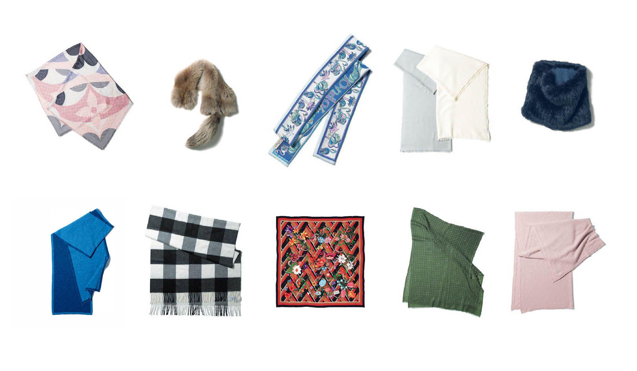 ストールやスカーフなどの巻き物10枚