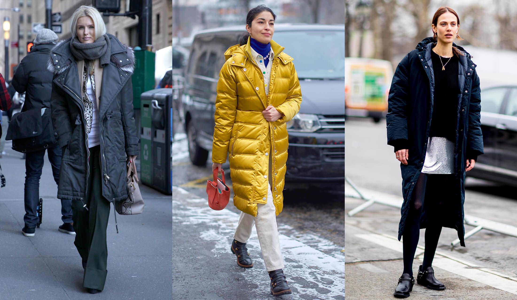 ダウンコートを着こなす海外のオシャレプロたちのストリートスナップ写真