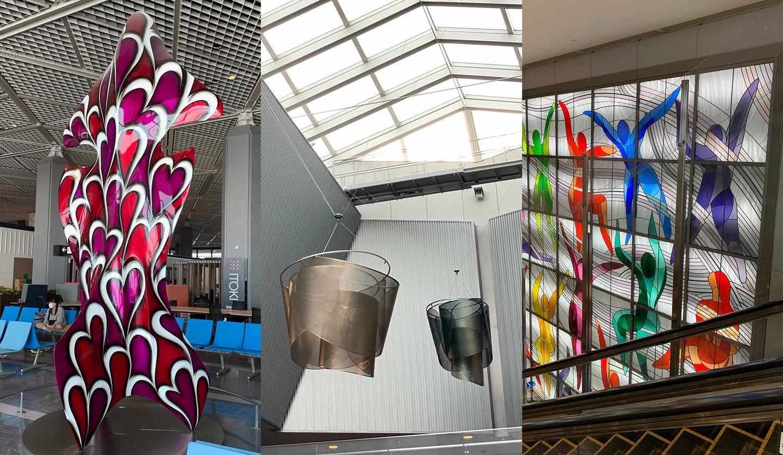 成田空港のアートスポット『V.O.WEST』、『時の花』、『飛翔する天女たち』