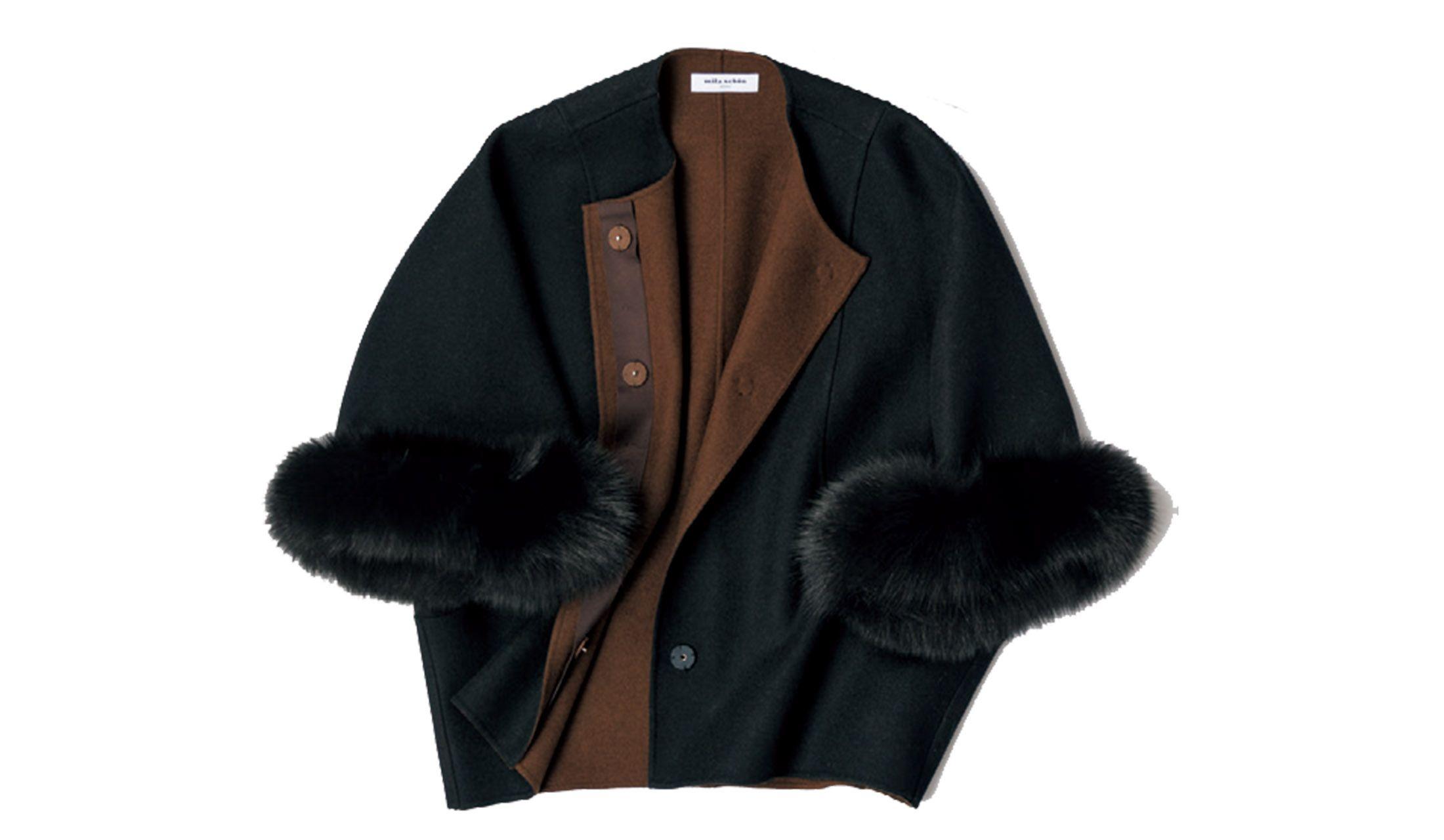 ミラ・ショーンのファートリミング付きのウールジャケット