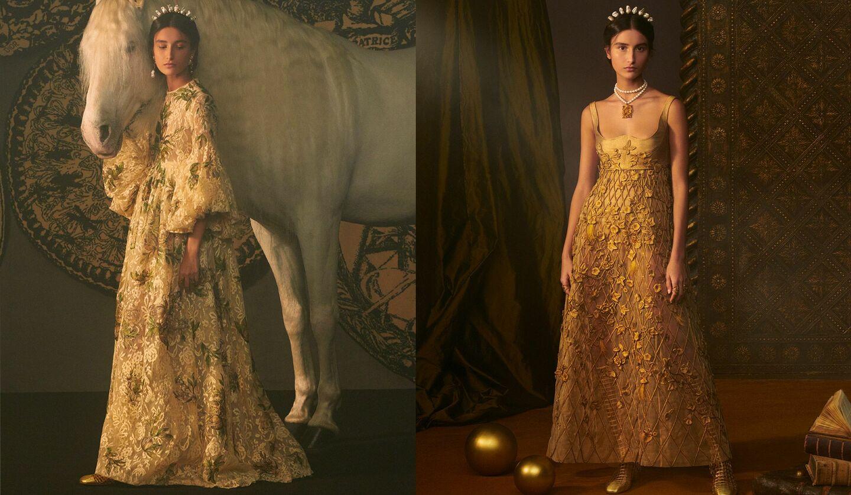 ディオールの2021年春夏オートクチュールコレクションより、ガウンドレスとミスディオール ドレス