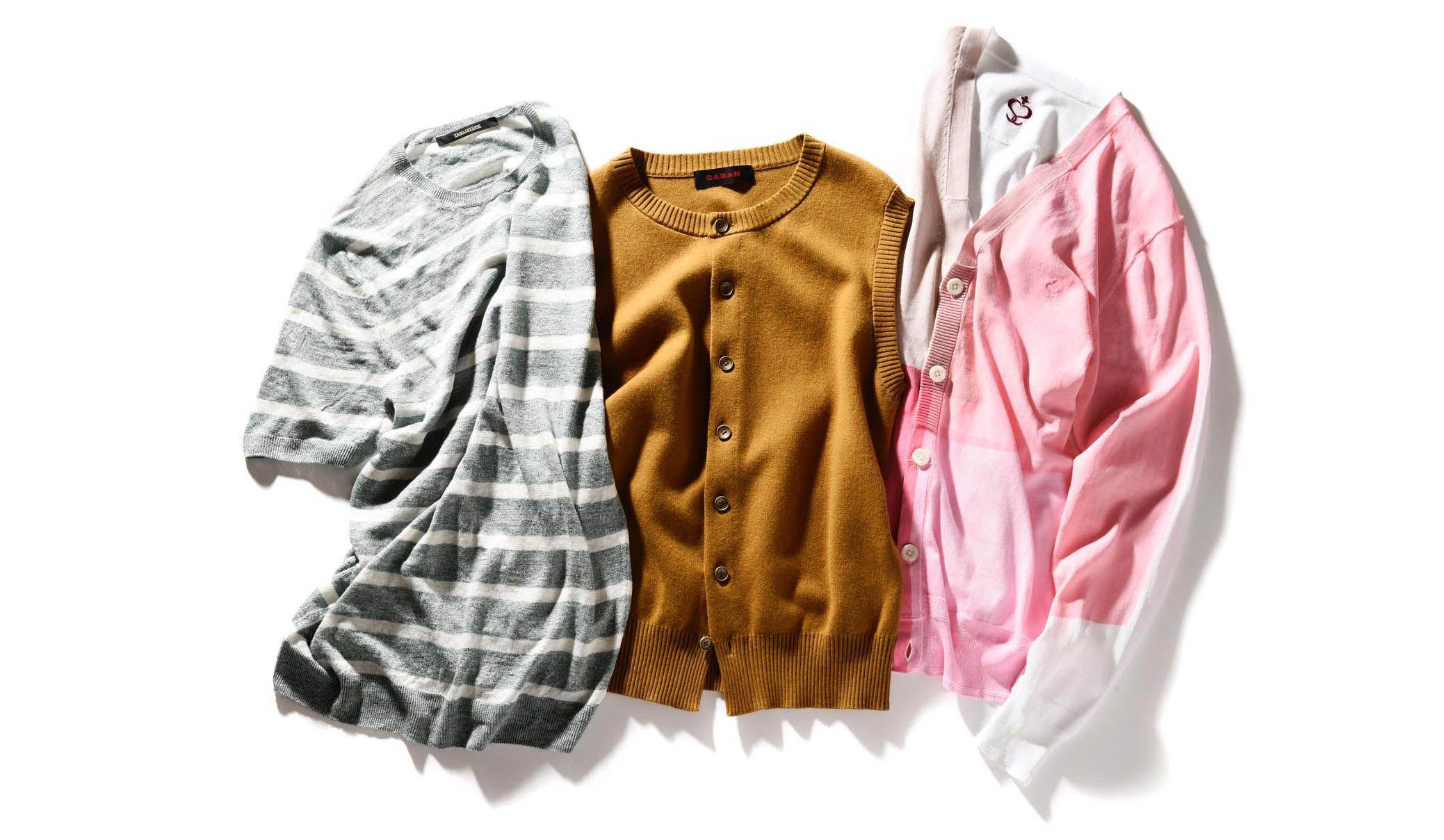 タリアトーレのニットTシャツ・キャバンのニットベスト・サイドスロープのカーディガン
