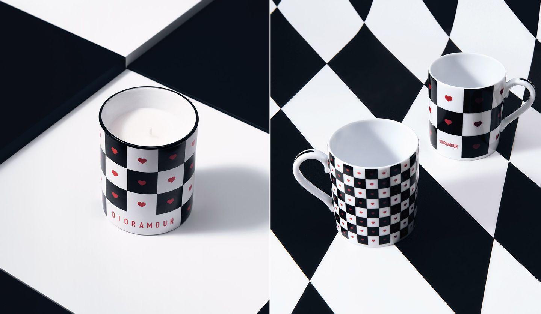 「DIORAMOUR(ディオールアムール)」コレクションのキャンドルとマグカップ