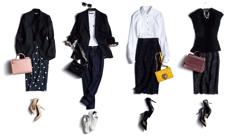 ドルチェ&ガッバーナの端麗ジャケットとコルドネットレーススカートのコーディネート4つ