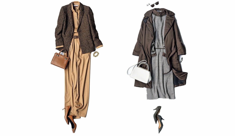 アニオナのコートとマックスマーラのジャケットを用いたベージュワントーン配色のコーデ