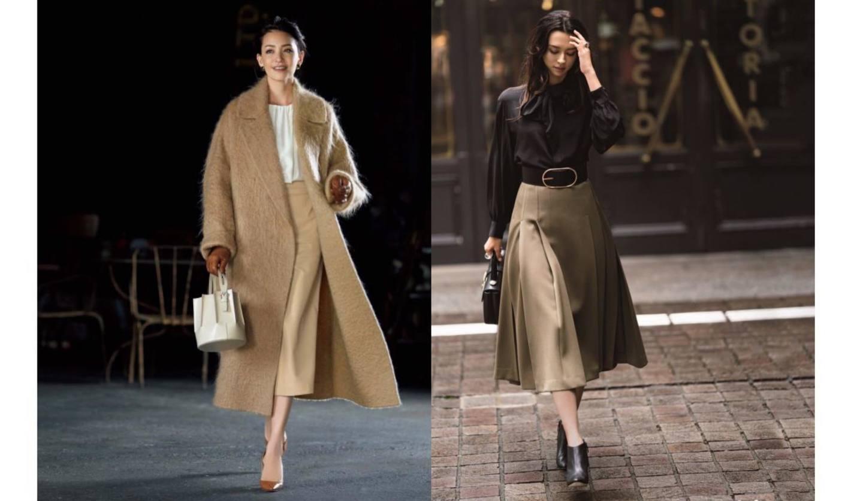 ベージュのスカートを身につけた冬スタイルの女性2名