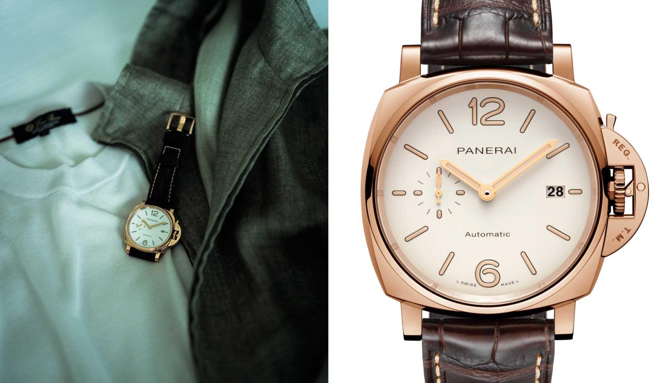 パネライのゴールド時計、『ルミノール ドゥエ PAM1042』の写真。