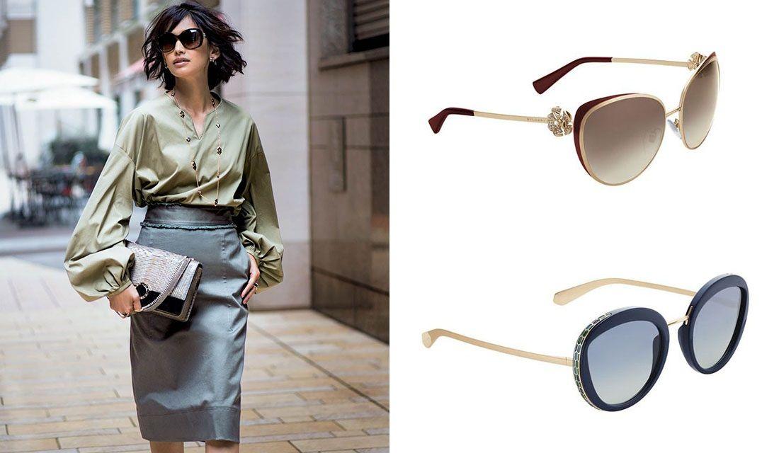 ブルガリのサングラスと着用するモデル高橋里奈さん