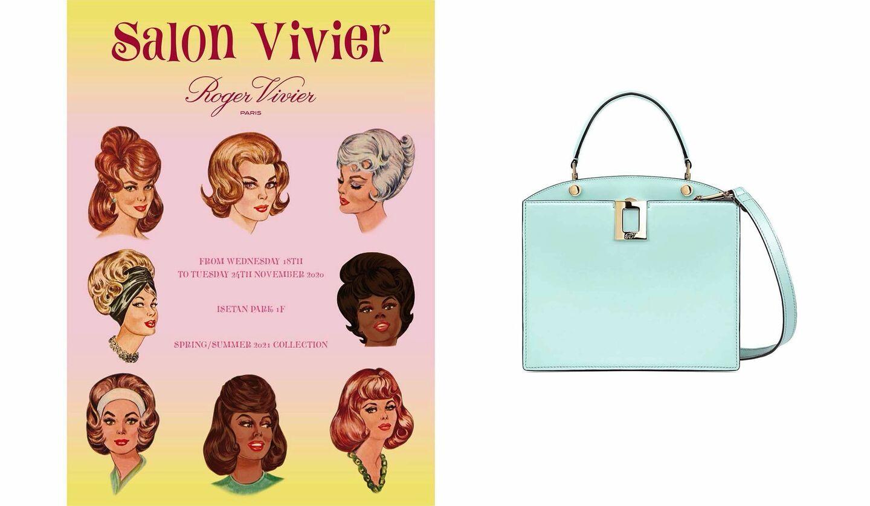 左/ロジェ ヴィヴィエのポップアップ 「Salon Vivier」のヴィジュアル、右/ロジェ ヴィヴィエの2021年春夏新作バッグ「So Vivier Bag Mini」