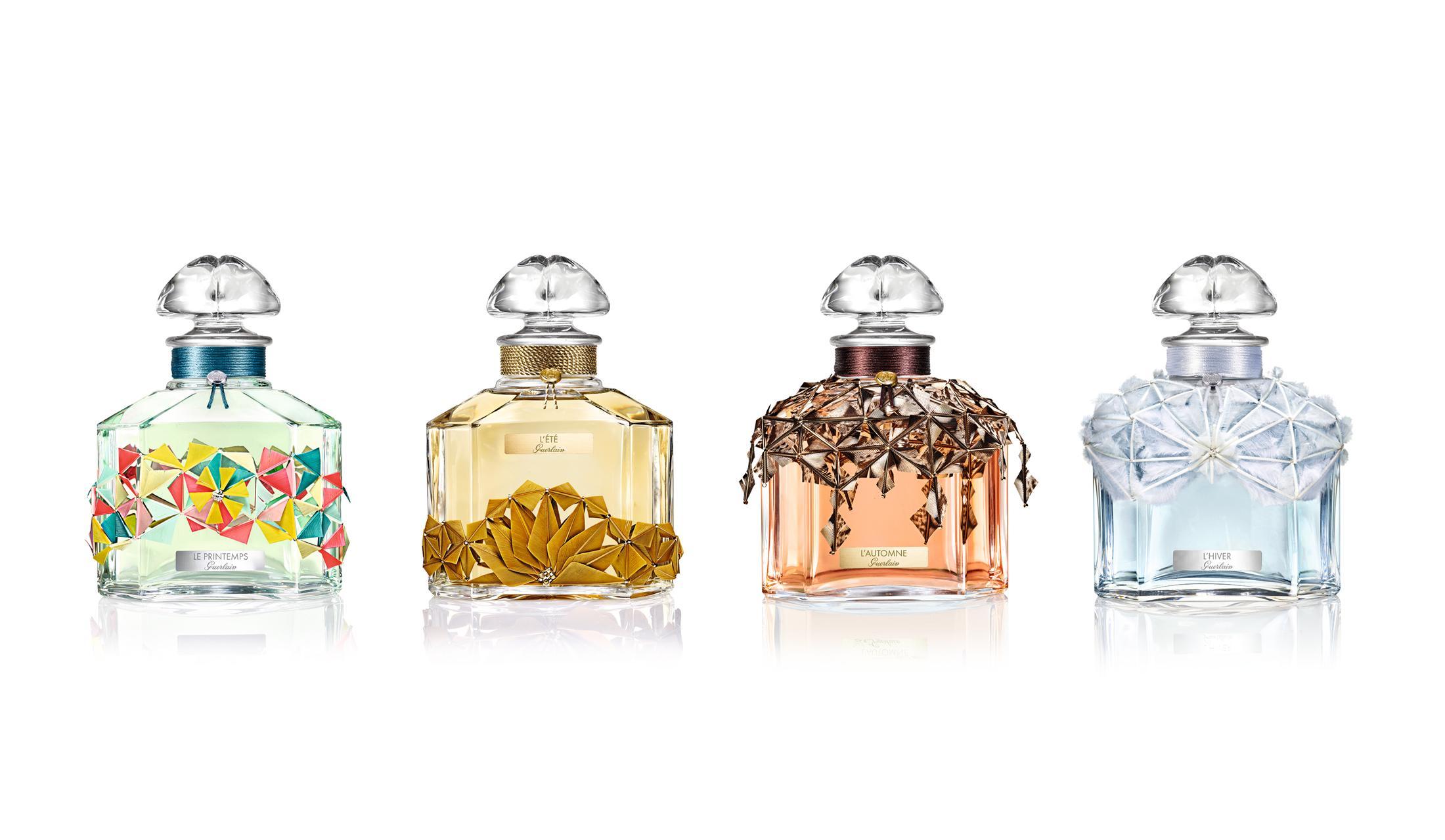 香りで四季を表現した4種の限定フレグランス。美しいボトルは、パリで話題のフェザー アーティストとのコラボレーションによるもの。
