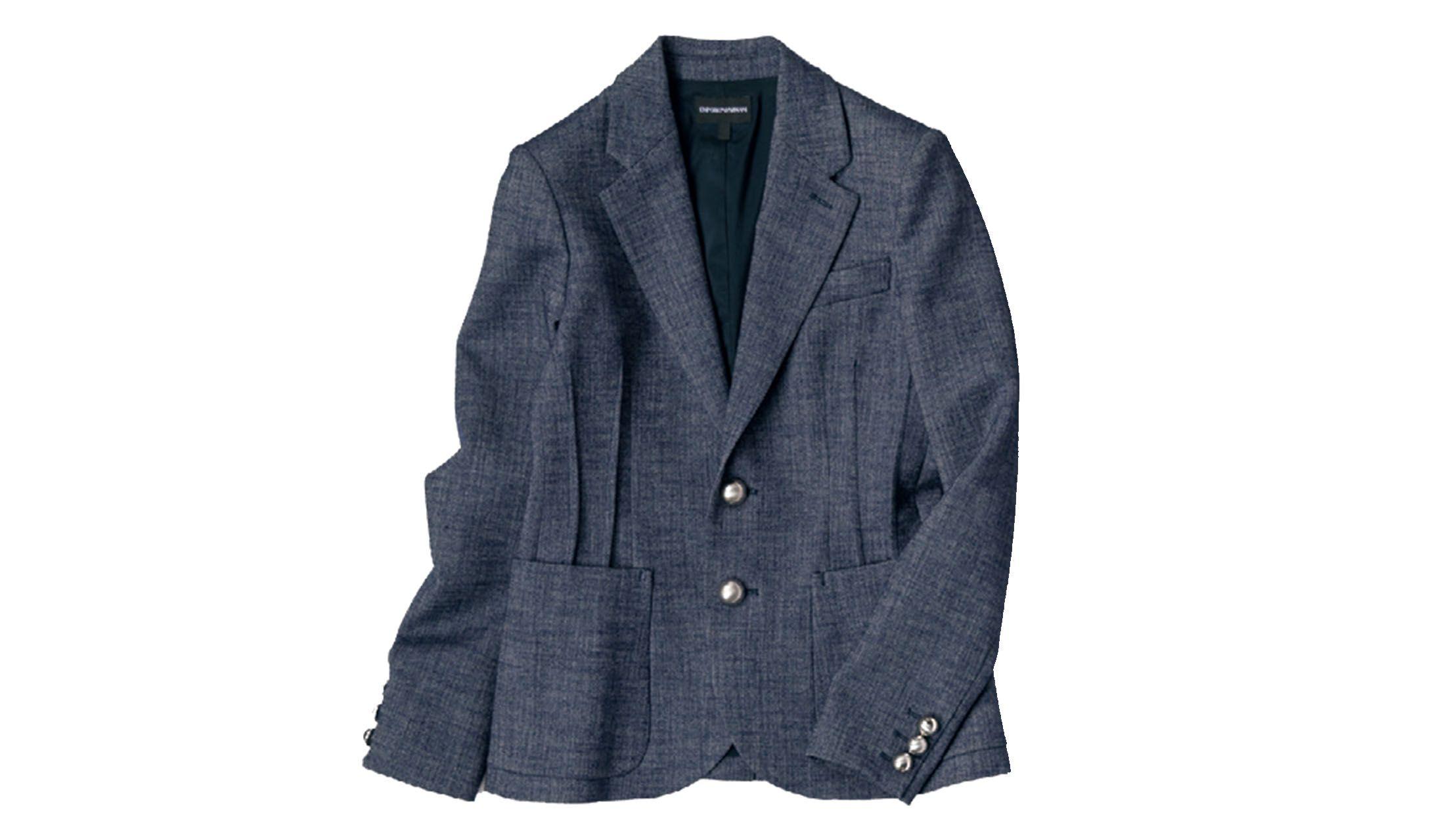 エンポリオ アルマーニのメランジネイビーのトラッドジャケット