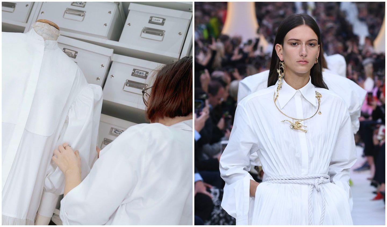 2020年春夏のVALENTINO(ヴァレンティノ)のコレクションで発表されたシャツを着用した女性とその制作過程
