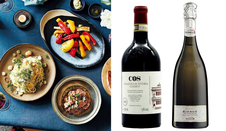 行正り香さんの「おもてなしの3皿」とワインの写真
