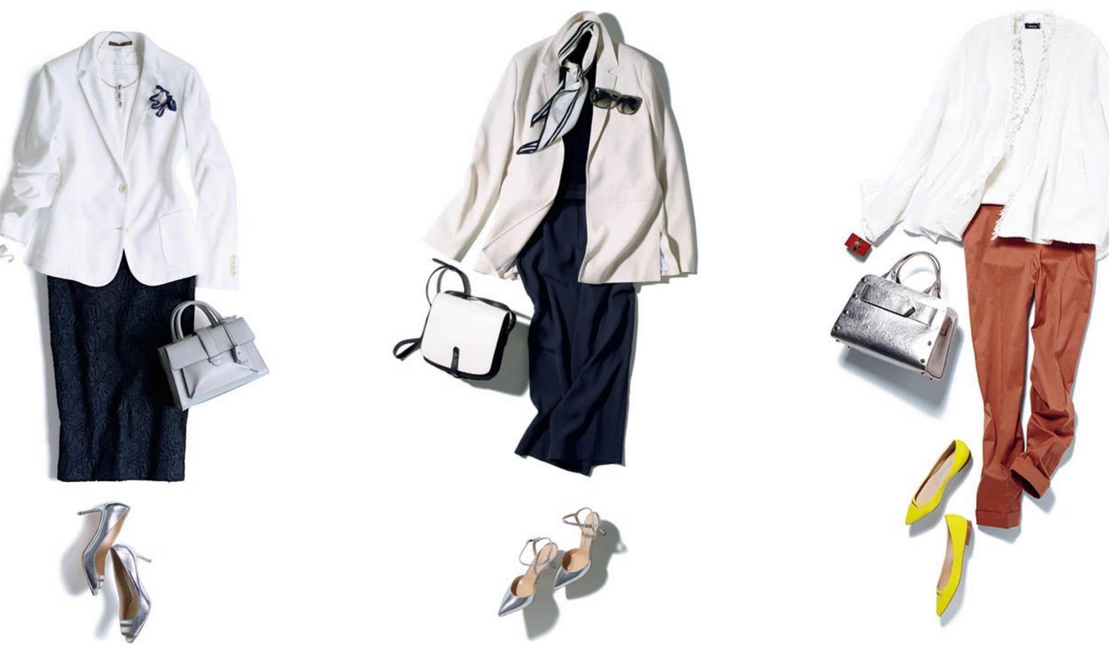 パンツやスカート、ニットとどう合わせる?レディース白ジャケット着こなし集