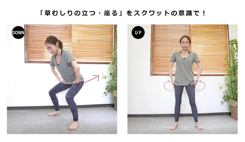 腰痛を和らげるスクワットのやり方2ステップの写真