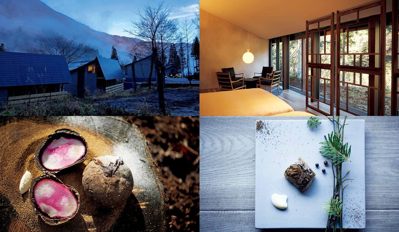 富山の美食オーベルジュ「レヴォ」のコテージの内観、外観、料理