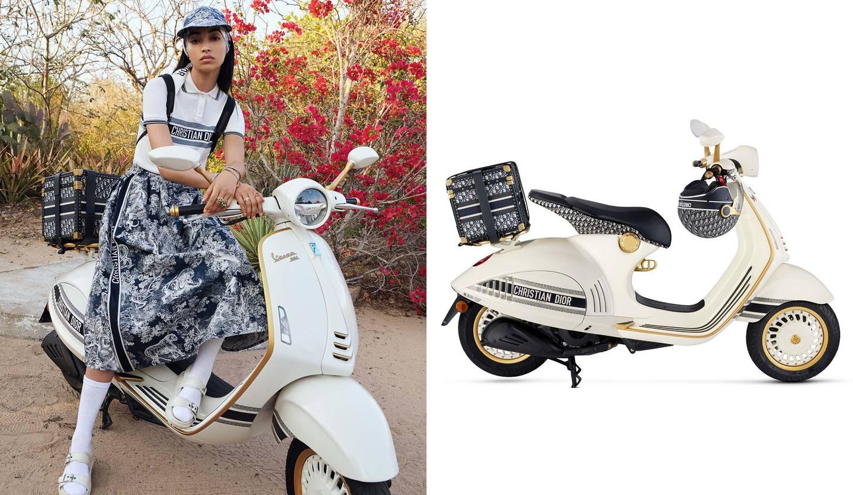 ディオール×ベスパのコラボスクーターと、そのスクーターに乗る女性の写真。
