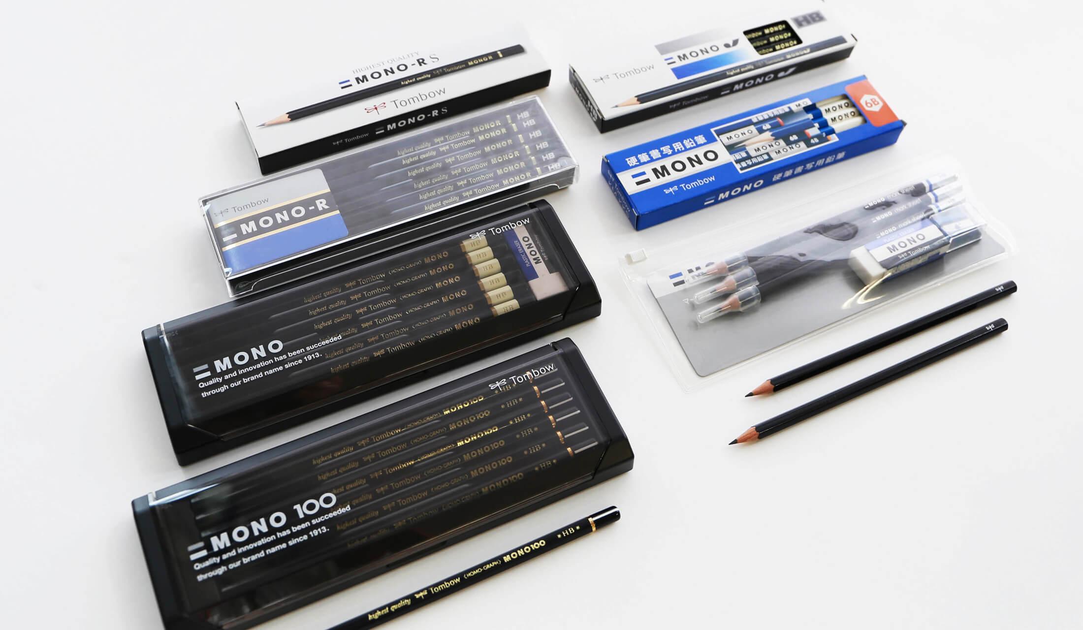 トンボ鉛筆が販売する「MONO J」や「MONO R」などのMONOシリーズの鉛筆が並ぶ